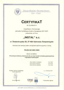 Certyfikat wdrożenia systemu zarządzania jakością zgodny z normą PN-EN ISO 9001:2009