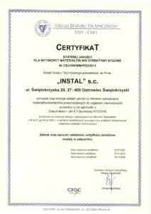 Certyfikat wdrożenia systemu jakości dla wytwórcy materiałów wg Dyrektywy 97/23/WE