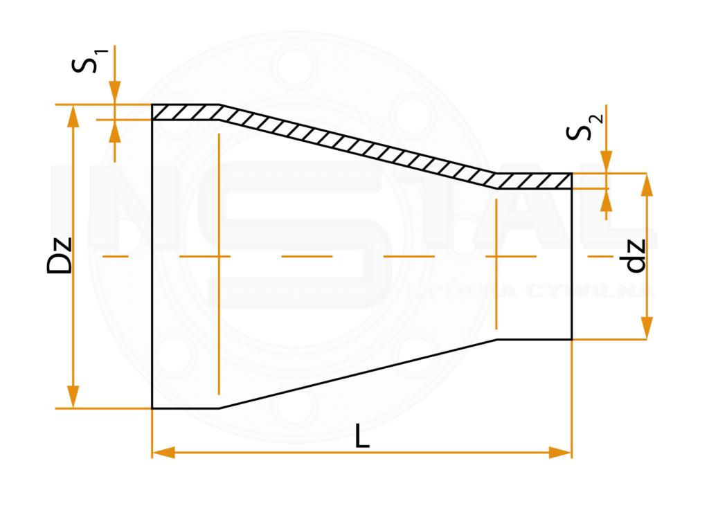Zwężka symetryczna - wymiary